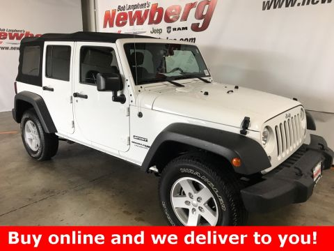 Certified Pre-Owned 2018 Jeep Wrangler JK Unlimited Sport Connectivity Group, Max Tow Package, Alpine Sound