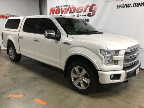 Pre-Owned 2016 Ford F-150 Platinum 4WD, Crew Cab, Navigation, Sunroof, Canopy, Slidin
